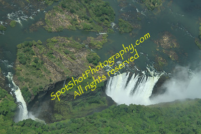 One end of the Falls.  Zimbabwe on the bottom, Zambia on top of photo.